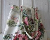 Vintage BARKCLOTH BAG handmade ticking canvas lining tote shopping market shoulder bag