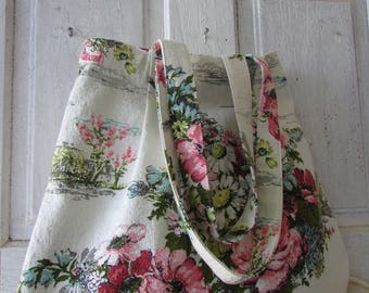 Vintage BARKCLOTH BAG handmade ticking canvas lining tote shopping market shoulder bag