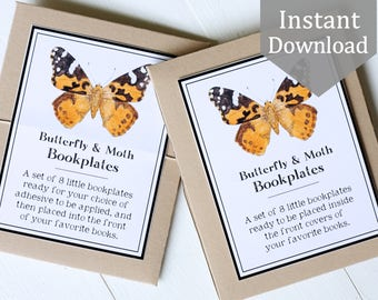Printable Bookplates - Butterflies & Moths - Ex Libris, School Supplies, Montessori, Educational, Insects, library, Nature Study