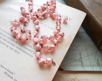 vintage pink rosary beaded chain - vintage old new stock jewelry supplies