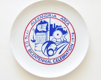 Alexandria MN Area Bicentennial Celebration Plate / 1976 / Red, White & Blue / Kensington Runestone, Viking Ship / Unique Gift Under 50
