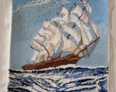 Vintage Needlepoint on Canvas of a Sailing Ship - Tapestry Seascape with Tall Ship