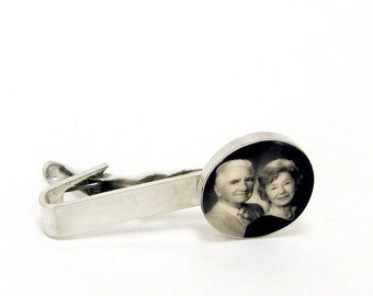 Sterling Silver Photo Tie Clip - A10 - Memory Jewelry. Personalized Photo, Custom Photo Jewelry, Custom Keepsake Jewelry, Sympathy Jewelry