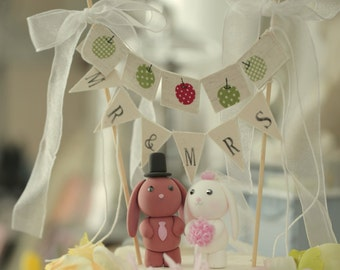bunny and rabbit Wedding Cake Topper---k948