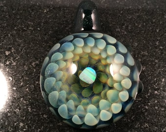 Fume Glass Implosion Pendant with White Opal---Majestic Glass Arts---