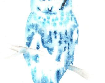 Barred Owl ORIGINAL Watercolor, Galaxy Spirit Totem Animal 9X12