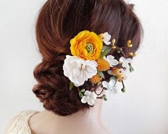 yellow floral hair clip, yellow wedding hair accessories, yellow flower hair clip, bridal head pieces, hair clips women, floral headpiece