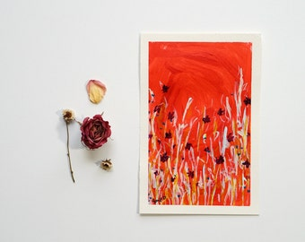 "Wildflower Art Gifts Under 100, Colorful Gallery Wall Art, Original Floral Painting on Paper, Impressionist Flowers, Red Home Decor 5""x7"""