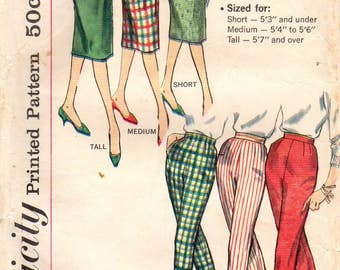 1950s Simplicity 3257 Vintage Sewing Pattern Misses Slim Skirt, Pencil Skirt, Long Pants, Proportioned Height, Sizes Waist 25,  28, 30