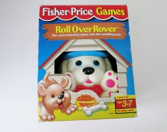 Fisher Price Toy, Roll Over Rover, color matching game, Mattel Toddler Baby Kids Childrens Toy Vintage 3 levels of play puppy movers