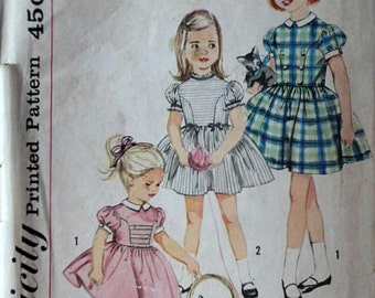 Vintage 50's Simplicity 4120 Sewing Pattern, Girls' One-Piece Dress, Size 3, 22 Breast