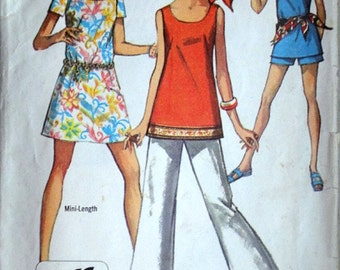 Vintage 60's Simplicity 8259 Sewing Pattern, Misses' Petite Jiffy Mini-Dress or Top & Bell-Bottom Pants or Shorts, Size 8 MP, 31.5 Bust