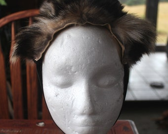Tanuki ears headdress - real eco-friendly raccoon dog fur ears with leather straps for costume and totemic dance upcycled
