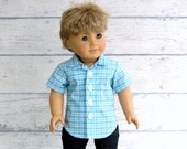 American Boy Doll Clothes Button Up Shirt, 18 inch Doll Clothes, Boy Doll Dress Shirt, Easter Shirt