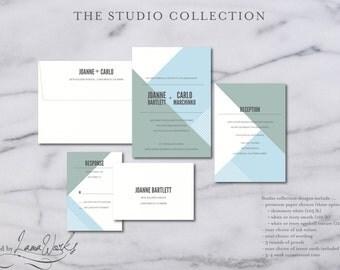 Denim Blue Modern Wedding Invitations | Minimalist Wedding Invitations | Dusty Blue Suite | Simple Invite | Custom | Joanne & Carlo