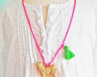 Kids Dog Necklace. Dog Necklace. Kids Necklace. Girls Dog Necklace. Tassel necklace. Sheep Dog Necklace. Gift for Dog Lover. Pet Lover.