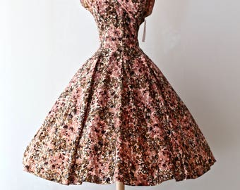Fabulous Vintage 1950's Floral Print Party Dress ~ Vintage 50s Full Skirt Cocktail Dress Blush and Dusty Rose