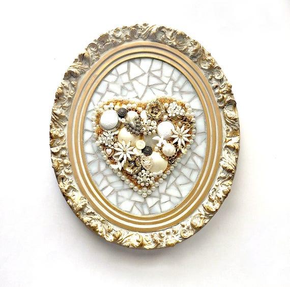White Gold Mosaic Heart, Handmade Mosaic Mixed Media Heart Art, Shabby Chic Framed Mixed Media White on White Three Dimensional Art