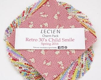 """Lecien Japan 5"""" x 5"""" squares Charm Pack Retro 30's Child Smile Spring set 42 pieces"""