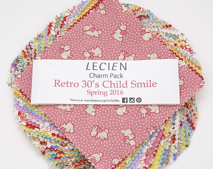 "Lecien Japan 5"" x 5"" squares Charm Pack Retro 30's Child Smile Spring set 42 pieces"