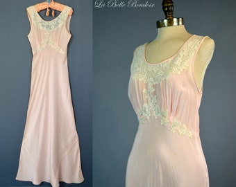 1930s Pure Silk Nightgown XS Vintage Bias Cut Gown Valenciennes Lace