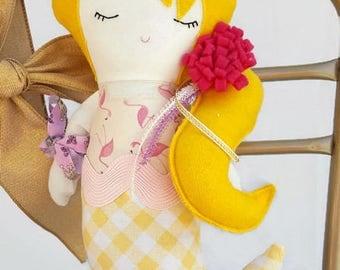 Mermaid Doll Handmade | Flamingo | Nursery Decor | Summer | Birthday Present | Mermaid Toy| Girl Doll | Plush | Beach Decor |