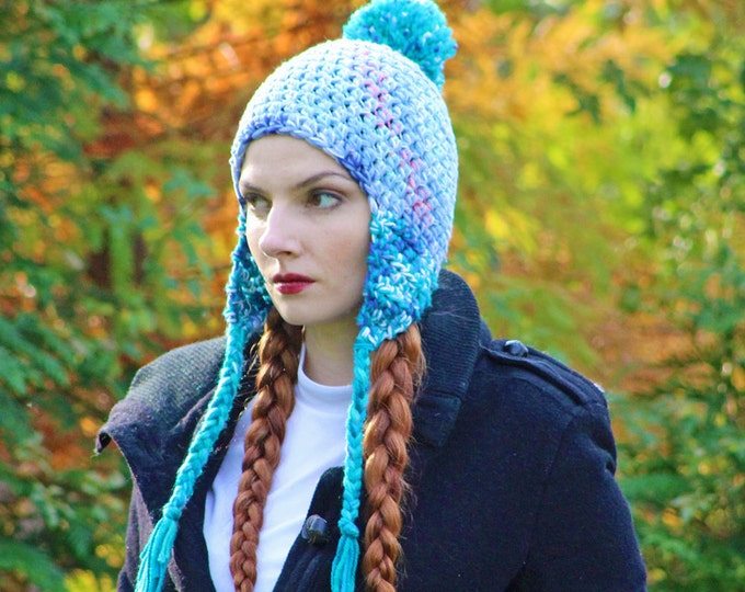Periwinkle Blue and Teal Pom Pom  EarFlap Warm Winter Hat