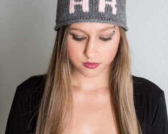 Knit Womans Hat Grey Personalized Knit Skull Cap Pink Womans Knit Beanie Knit Ski Cap Womans Winter Hat Gifts For Her Knit Accessories