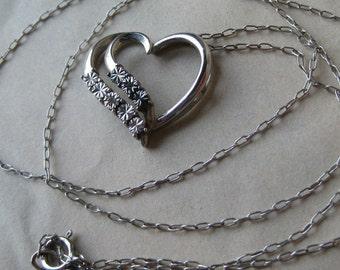 Heart Diamond Chip Sterling Necklace Stone Gray Silver Vintage Pendant 925