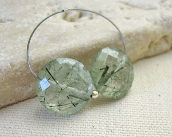 Green Tourmalinated Quartz Faceted Coin Beads 11.5mm - Matched Gemstone Pair