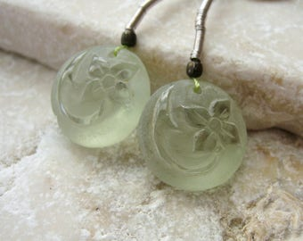 Prasiolite Floral Carved Frosted Coin Beads 14.5mm - Matched Gemstone Pair