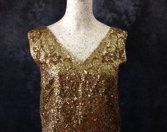 Vintage 1960's gold sequin top Gaylord Hong Kong