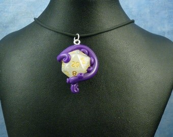 Purple and White Sparkle Sanity Check Necklace - Tentacle Wrapped D20 Pendant