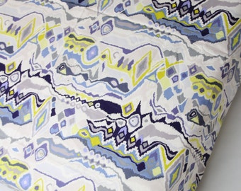 Fitted Crib Sheet Blue, Yellow and Gray Ikat Abstract - Ready to Ship