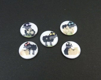 """5 Baa Baa Black Sheep Decorative Buttons.  Nursery Rhyme Children's Novelty Sewing Buttons. 3/4"""" or 20 mm. Washer and Dryer Safe.  Handmade."""