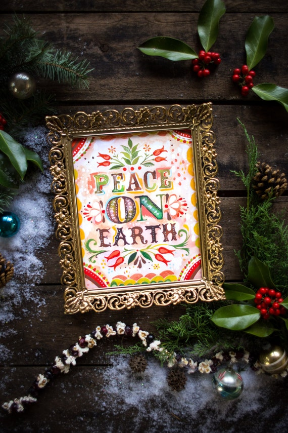 Peace on Earth Print | Holiday Painting | Watercolor Wall Art | Katie Daisy |  8x10 11x14