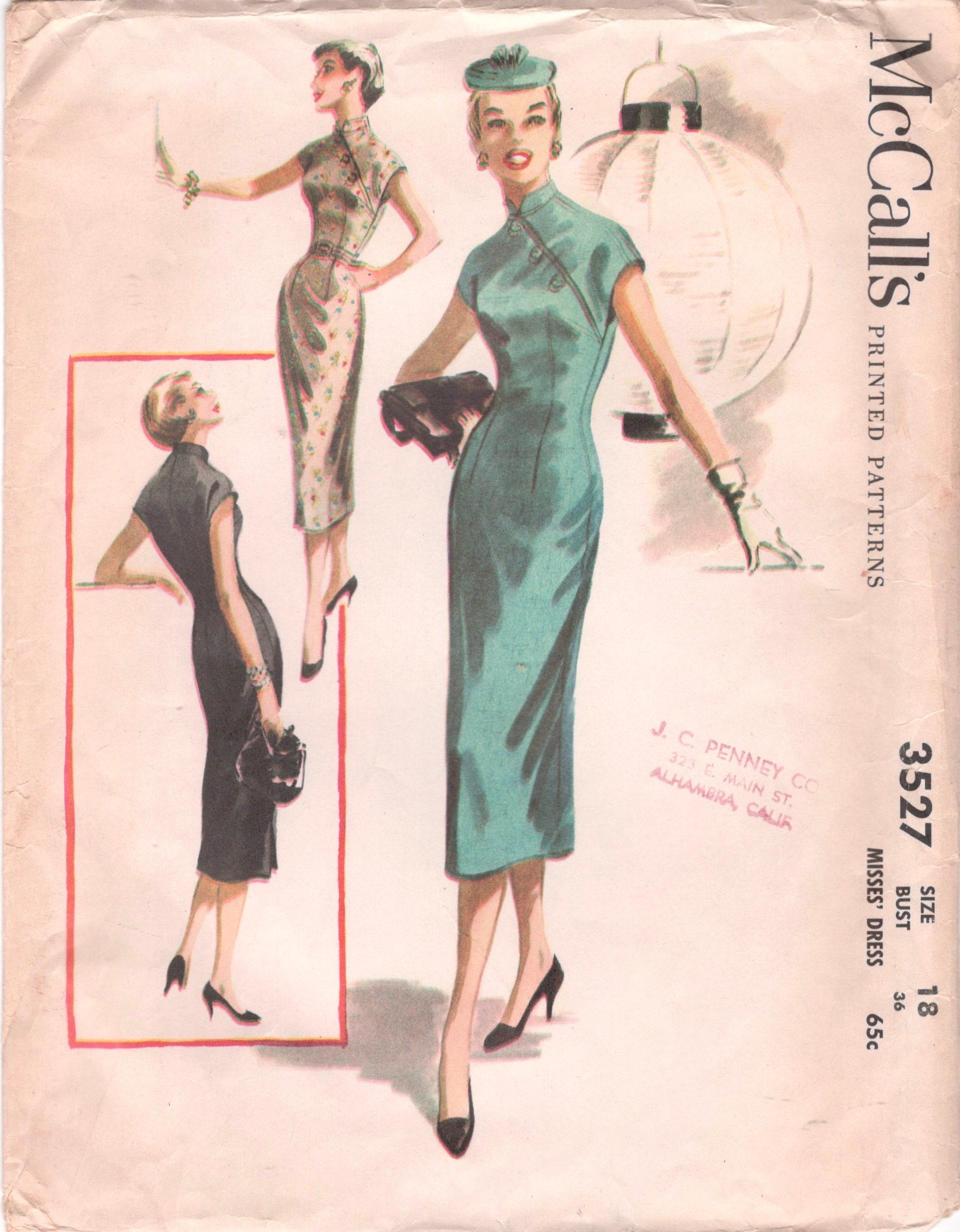 1950s mccalls 3527 misses cheongsam sheath dress pattern zoom jeuxipadfo Choice Image