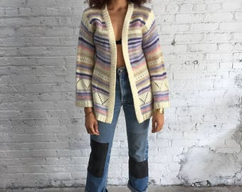 70s mohair hippie stripe sweater / pastel striped hippy sweater / vintage cache sweater / bell sleeve sweater