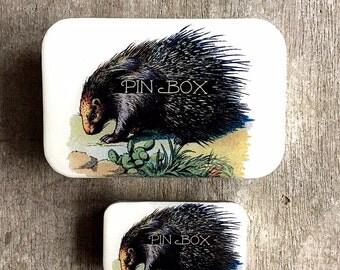 Porcupine pin tin LARGE,  Notions tin