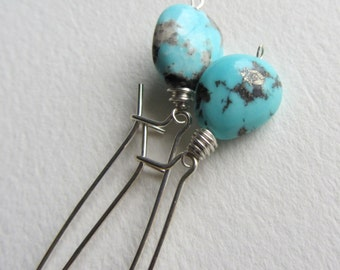 Turquoise Earrings with Sterling Silver Kidney Ear Wires Boho Style Ready to Ship Handmade in Seattle Woman Owned Business PNW