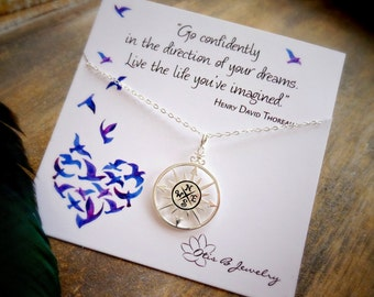 Compass necklace, graduation gift for her, High School graduate, college graduation, Go confidently quote, otis b jewelry etsy, true north