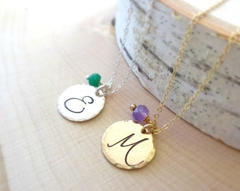 Script Initial Necklace, minimal Gold disc layering necklace, personalized layer necklace, bridesmaid gift idea, graduation, hand stamped