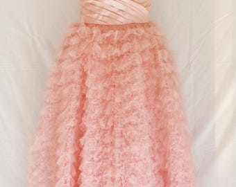 RESERVED For Rosalyn-Sue Genuine 50s 60s Pink Strapless Tulle Formal Prom Dress MINT CONDITION
