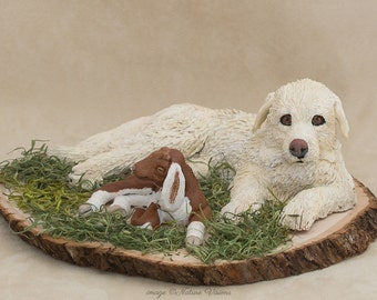 Great Pyrenees Art, Goat and Dog Figurine, Polymer Clay Animals, OOAK Dog Sculpture