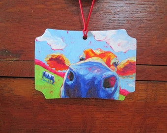Cow Canvas Ornament - Holiday Ornament