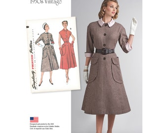 Retro 1950s Dress Sewing Pattern - Simplicity 8251- One-Piece Dress with Huge Pockets  - US Sizes 6 -8 -10 -12 -14 or 16 -18 -20 -22 -24