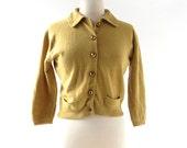 Vintage 1950s Cardigan | Mustard Cardigan | 50s Sweater | M L