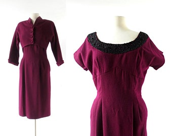 1950s Evening Dress | Beaded Dress | 50s Dress with Jacket | Small S