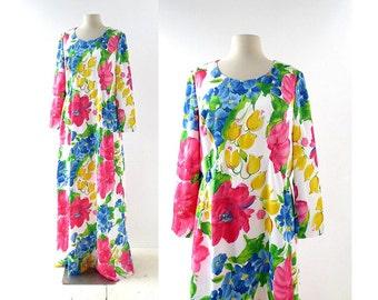 1970s Maxi Dress | Floral Maxi Dress | 70s Dress | L Large