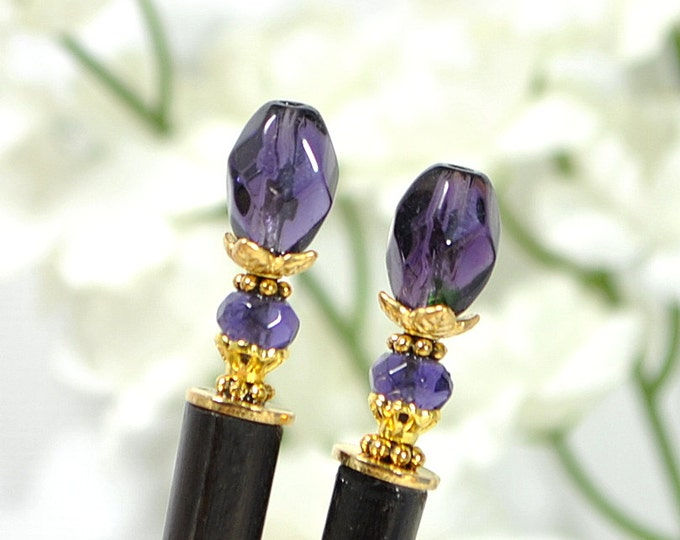 "Japanese Hairsticks Purple Hair Sticks Hair Beads Chinese Hair Pins Purple Bun Pin Hair Chopstick Handmade - ""Ballad"""